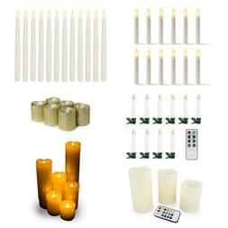 Warm White Battery Operated Flameless LED Candles: Taper, Pi