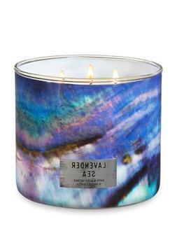 White Barn Bath & Body Works 3 Wick Candle Lavender Sea